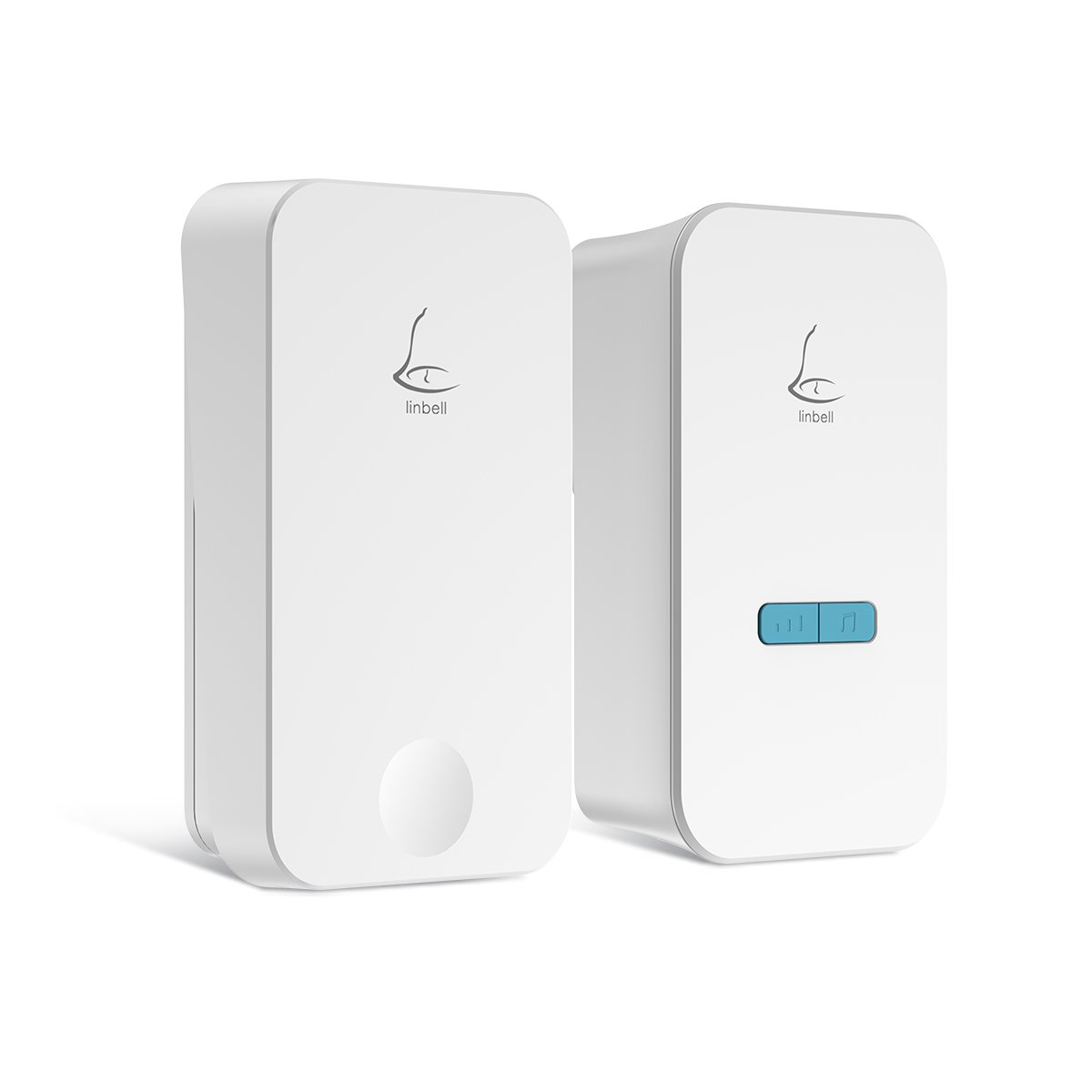 Linbell Self Powered Wireless Doorbell, No Batteries Required for Remote Button and Receiver,1 Remote Button and 1 Plug in Receiver with 36 Chimes, 5 Volume Levels and LED Indicator, (White)