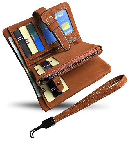 - Women's Small Bifold Leather wallet Rfid blocking Ladies Wristlet with Card holder id window Coin Purse (Brown3)