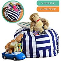 """Giant Quality 38"""" Stuffed Animal Storage Bean Bag Chair - with Pocket for Kids - Durable Soft Cotton Canvas Storage Solution with Zip & Strong Handle Declutter Organizer Toy Bag   2 FREE E-BOOKS"""