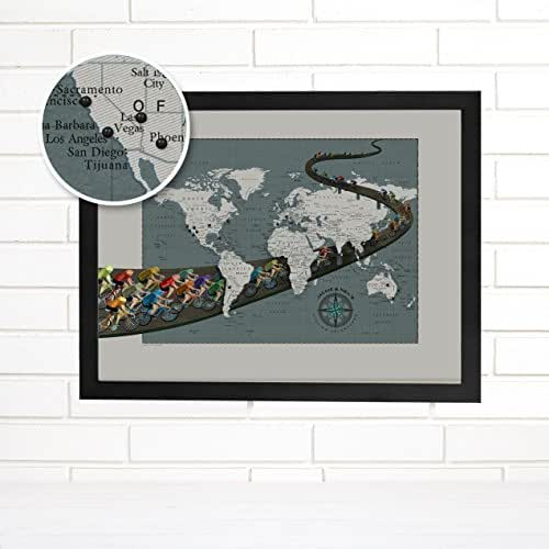 Amazon personalized cycling world push pin travel map art imaginenations by wendy gold gumiabroncs Gallery