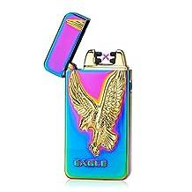 Padgene Electronic Pulse Double Arc Cigarette Lighter, Eagle Flameless USB Rechargeable Arc Lighter, Mix Color