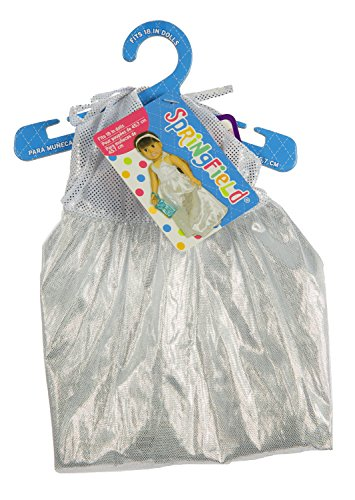 Fiber Craft Springfield Collection Prom Dress for Doll, Silver image