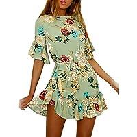 Women Dress Daoroka Sexy Vintage Summer Casual Floral Beach Mini A Line Skater Belt Skirt Fashion Maxi Party Sundress (S, Green)