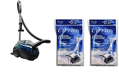 Cirrus VC248 Canister Vacuum Cleaner W/ 2 Packs of 6 Bags (12 total) Bundle