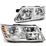 DNA MOTORING HL-OH-018-CH-AM Headlight Assembly, Driver and Passenger Side,Chrome Housing/ Amber Corner