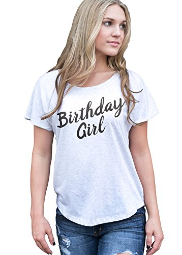 Superluxe Clothing Womens Birthday Girl Flowy Tri-Blend Dolman T-Shirt, Heather White, -