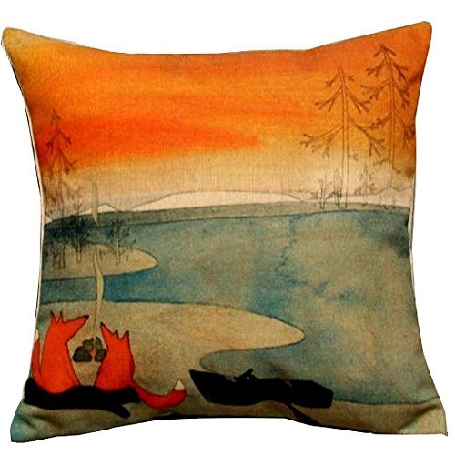 - 1 X Animal Series Cartoon Style Lovely Fox Go Boating Together Throw Pillow Case Decor Cushion Covers Square 18*18 Inch Beige Cotton Blend Linen