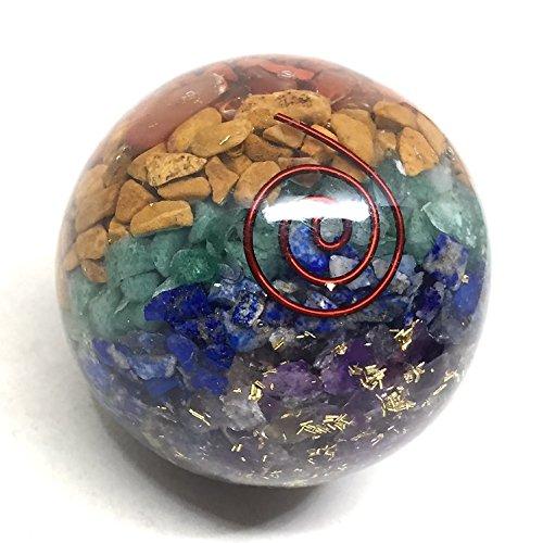 Stone Carved Sphere (Chakra Sphere Gemstone Orgonite Figurine | 2.5