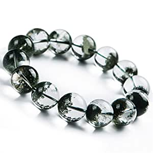 17mm Natural Green Phantom Quartz Crystal Round Bead Power Stretch Bracelet