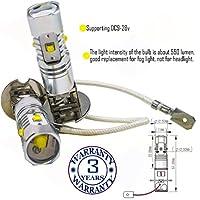 Wiseshine H3 3000k led fog light bulb DC9-28v 3 years quality assurance (pack of 2) H3 5 led high power