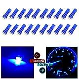 CCIYU 20x Blue T5 Blue Dashboard Instrument Panel Instrument Speedometer Gauge Cluster 37 73 74 79 17 57 5050 1-SMD LED Light Bulb 12V