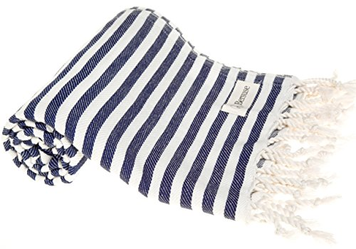 (Bersuse 100% Cotton Malibu Turkish Towel, 37X70 Inches, Dark Blue)