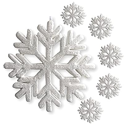 "3-D White Glittered Snowflakes - Foam Snowflake Ornaments with White Ribbon - Approximately 9"" In Diameter - White Glittered Decorations - Christmas Decor"
