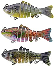 DECOnology 3 Packs 6 Segments Fishing Lures, Fishing Bait, Swimbait, Ice Fishing Lures, Animated Lure, Robotic