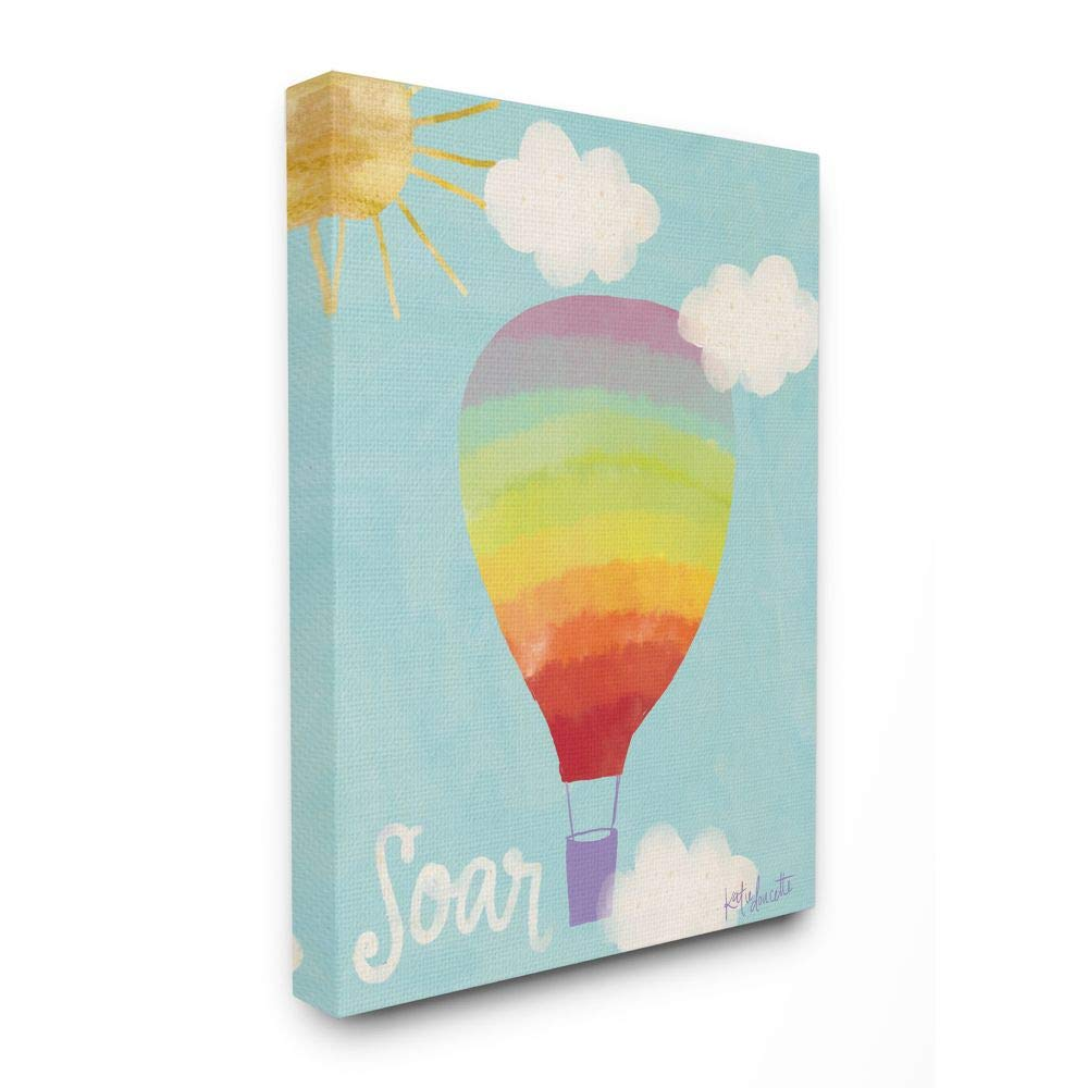 Stupell Industries Soar Rainbow Hot Air Balloon Stretched Canvas Wall Art, 16 x 1.5 x 20, Proudly Made in USA