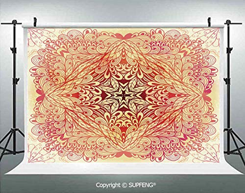 Photo Backdrop Hand Drawn Doodle Style Flowers Swirls Ivy in Square Shape Image 3D Backdrops for Interior Decoration Photo Studio Props