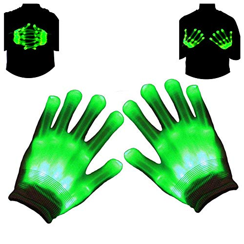 Autbye Light Up LED Skeleton Hand Gloves Halloween Toy (2019 Enhanced Edition) Novelty for Kids Masquerade Cosplay Festival Party Prop Scary Costume (Green Light)