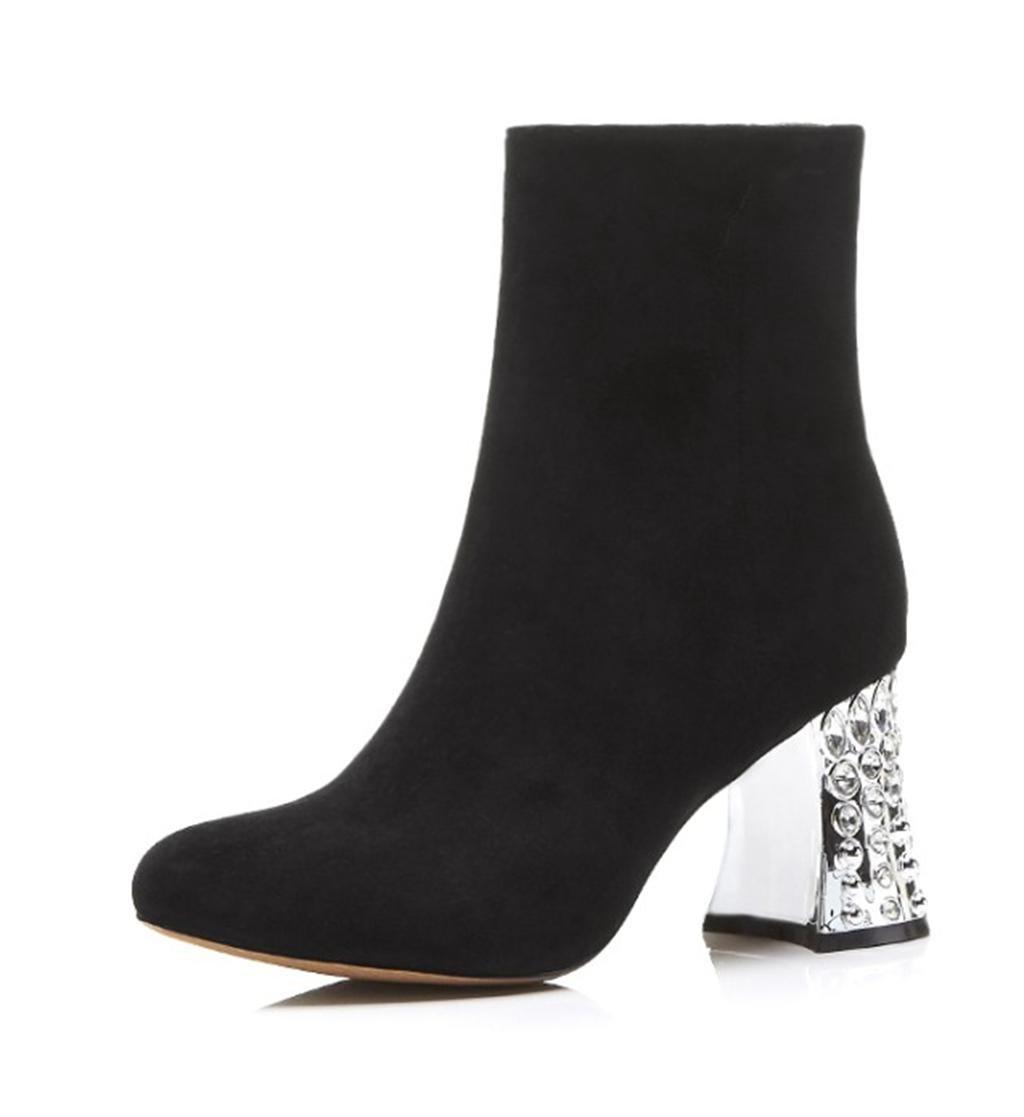 MNII Botas de tacón alto de las señoras de las señoras hechas a mano del tobillo del invierno de la plataforma del bloque Tamaño- Zapatos de moda EU39