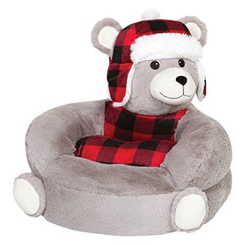 Trend Lab Kids Plush Character Chair, Buffalo Check Bear