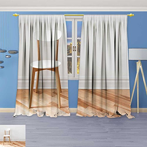 SOCOMIMI Room Darkening Thermal Insulated Blackout Grommet Window Curtain, White Chair in an Empty Room with Wooden Floor,for Living Room, 120W x 72L inch