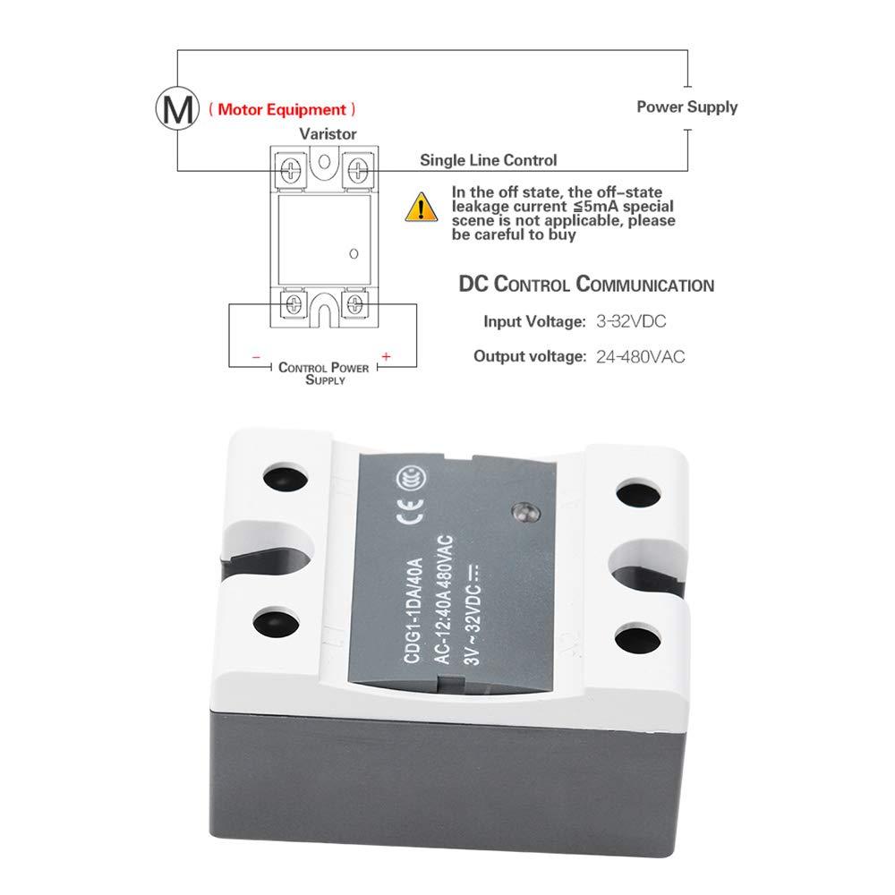 Docooler CD de contr/ôle monophas/é CC de contr/ôle d/état CDG1-1DA 40A pour Heatbed en caoutchouc de silicone