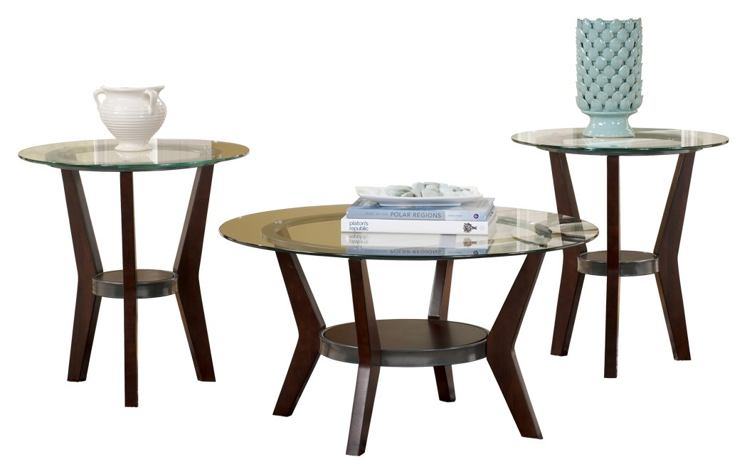 Ashley Furniture Signature Design - Fantell Circular Glass Top Occasional Table Set - Contains Cocktail Table & 2 End Tables - Contemporary - Dark Brown by Signature Design by Ashley