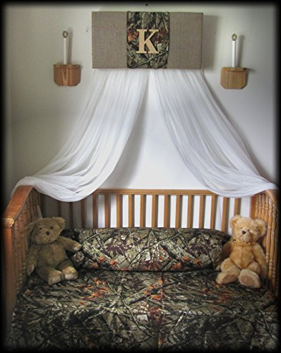 Crib Canopy boy nursery Bedroom Realtree Camouflage Mossy Oak cornice BuRLAP Camo Baby HunT WHITE sheer curtains Bed So Zoey Boutique (Zoey Green Camo)