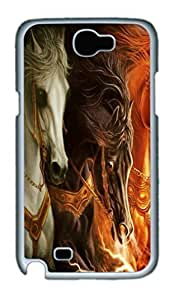Cool Protective PC Case Skin for Samsung Galaxy Note2 N7100/N7102 with 3d Horses (White)
