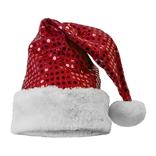 Sequin Santa Hat, Red (Red Sequin Santa Hat)