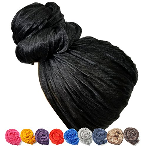 Stretch Head Wrap - Long Black Head Wrap Turban Hair Scarf Tie Color 1pcs (Tie Hair Wrap)
