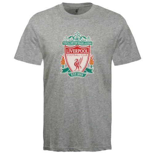 Liverpool Soccer T-shirts - Liverpool Football Club Official Soccer Gift Mens Crest T-Shirt Grey 3XL