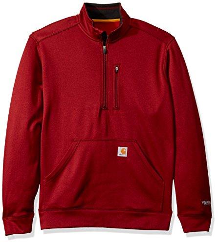 (Carhartt Men's Force Extremes Mock-Neck Half-Zip Sweatshirt (Regular and Big & Tall Sizes), Dark Crimson Heather, 2X-Large)