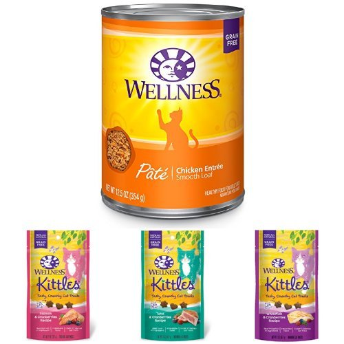 Wellness Natural Grain Free Wet Canned Cat Food, Chicken Pate, 12.5-Ounce Can (Pack of 12) with Wellness Kittles Crunchy Natural Grain Free Cat Treats, 2-Ounce Bag (3 Bag Variety)