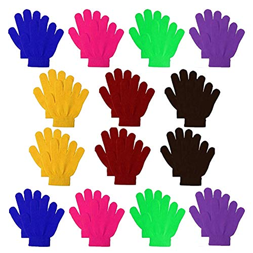 14 Pairs Kids Warm Magic Gloves Teens Winter Stretchy Knit Gloves Boys Girls Knit Gloves (multicolored, small)
