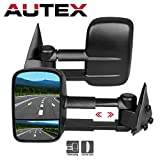 AUTEX Pair Extend Manual Towing Telescoping Side Mirrors Compatible With 1999-2006 Chevy Silverado Pickup all models/1999-2006 GMC Sierra Pickup all models