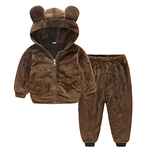 Fheaven Toddler Baby Girl Boy Cute Bears Winter Warm Velvet Hooded Coat Tops+Pants Outfits (6-12 Months, Brown) -