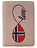 [OxyCase] Designer Light Weight PU Leather Passport Holder Cover/Case - Infinity Love Norway Flag Design Printed Cute Travel Wallet for Girls/Women