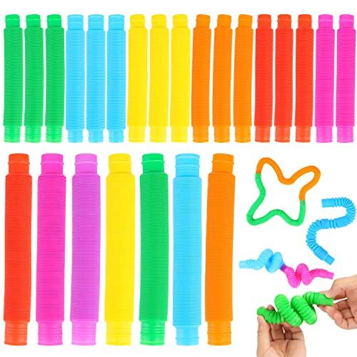 3 otters Pop Tube Toys, 24 PCS Pop Tubes Sensory Toys Tubes Fidget Toys Great as Gift, Halloween Party Favors