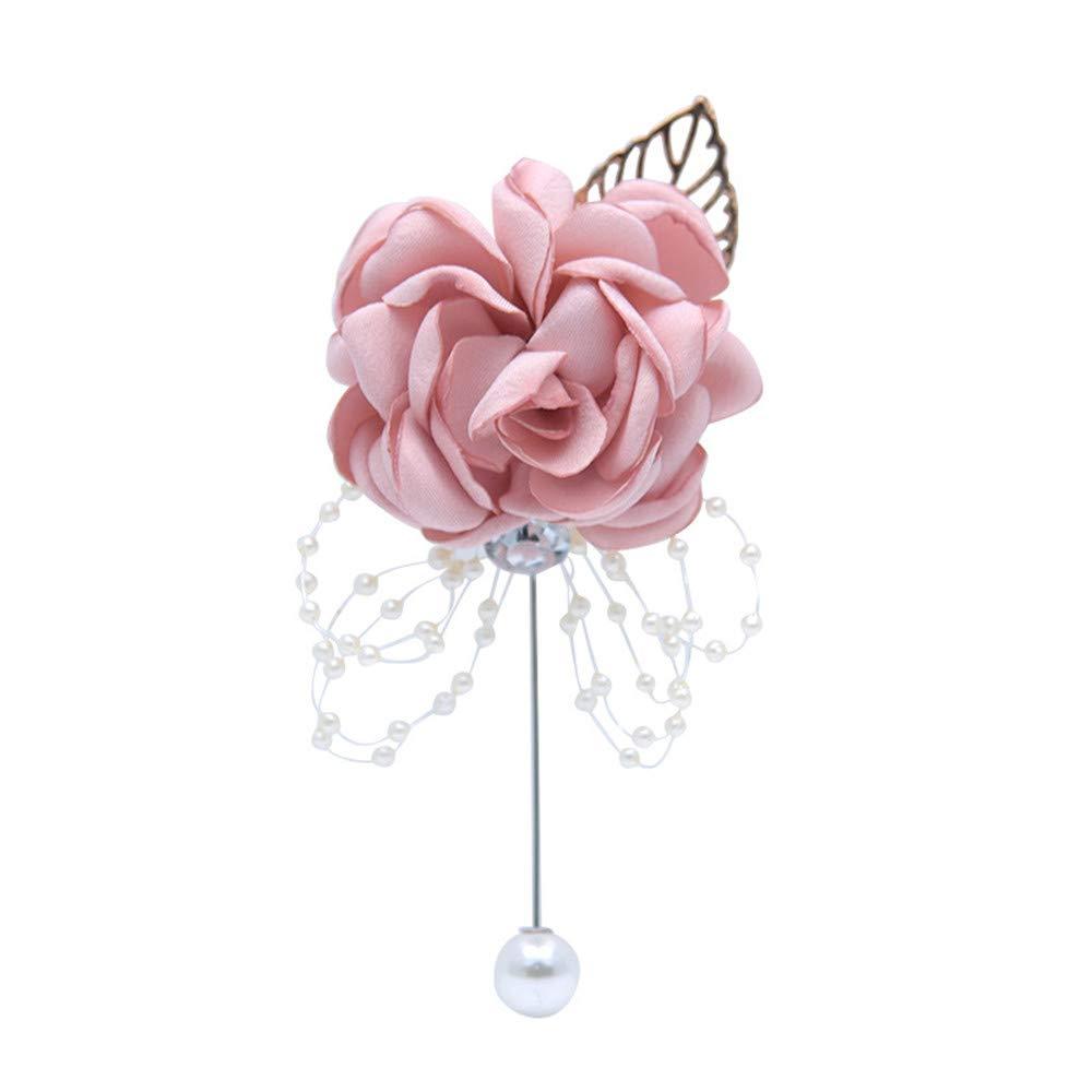 Fouriding Herren Ansteckblume Revers Pin Handgefertigt Rose Brosche Blume Knopfloch Boutonniere f/ür M/änner Br/äutigam Hochzeit Anzug Dekor Burgundy Packung mit 2 St/ück