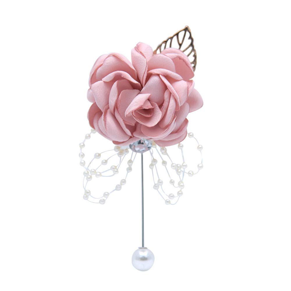 Fouriding Mens Boutonniere Flower Brooch Lapel Pin Bridegroom Groomsmen Handmade Satin Boutineer Corsage Pins for Groom Wedding Party Suit Decoration