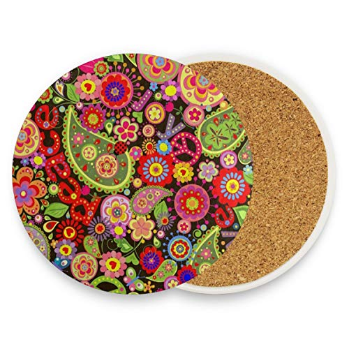 LoveBea Colorful Flower Print Peace Sign Coasters, Prevent Furniture from Dirty and Scratched, Round Wood Coasters Set Suitable for Kinds of Mugs and Cups, Living Room Decorations Gift Set of 2