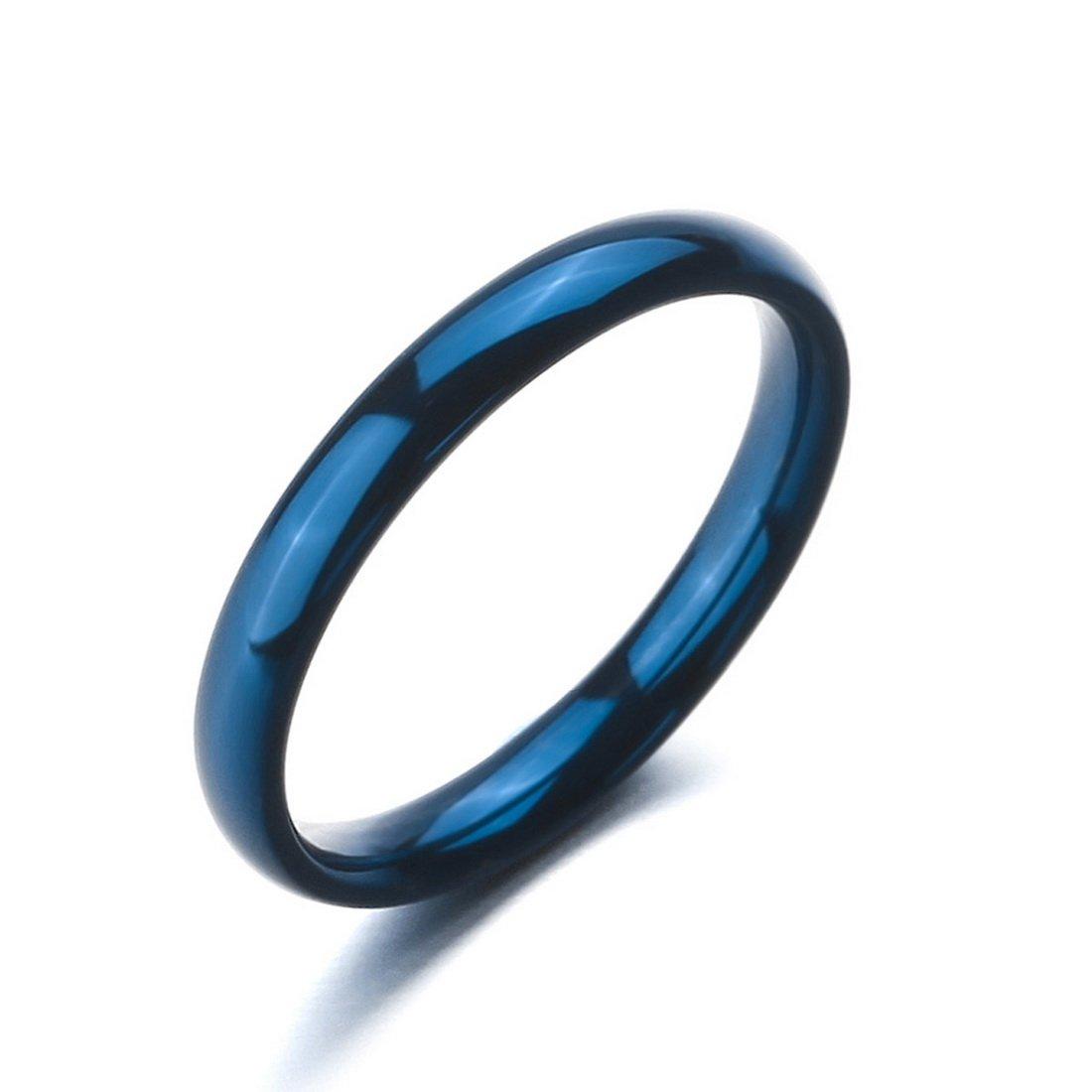 INBLUE Men,Women's Wide 3mm Stainless Steel ring Band Blue Wedding Size8