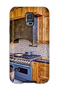 Durable Protector Case Cover With Stained Wood Cabinets With Blue Gas Range And Countertops Hot Design For Galaxy S5