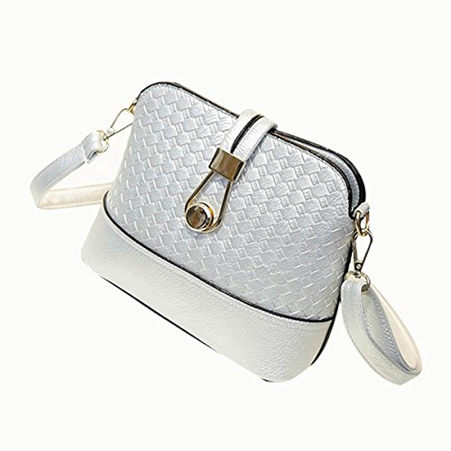 SODIAL(R) Weave shell small handbags new fashion women tote evening clutch ladies party purse crossbody shoulder messenger bags Silver (Weave Shell)