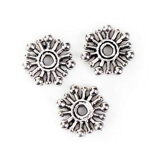 (100 Bright Tibetan Silver 10mm Retro Beaded Rondelle Snowflake Bali Spacer Beads)