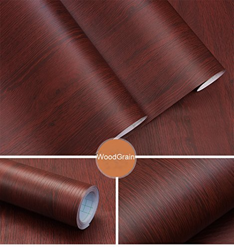 Decorative Faux Wood Grain Contact Paper Vinyl Self Adhesive Shelf Drawer Liner for Bathroom Kitchen Cabinets Shelves Table Arts and Crafts Decal 24x117 Inches by Glow4u (Image #1)