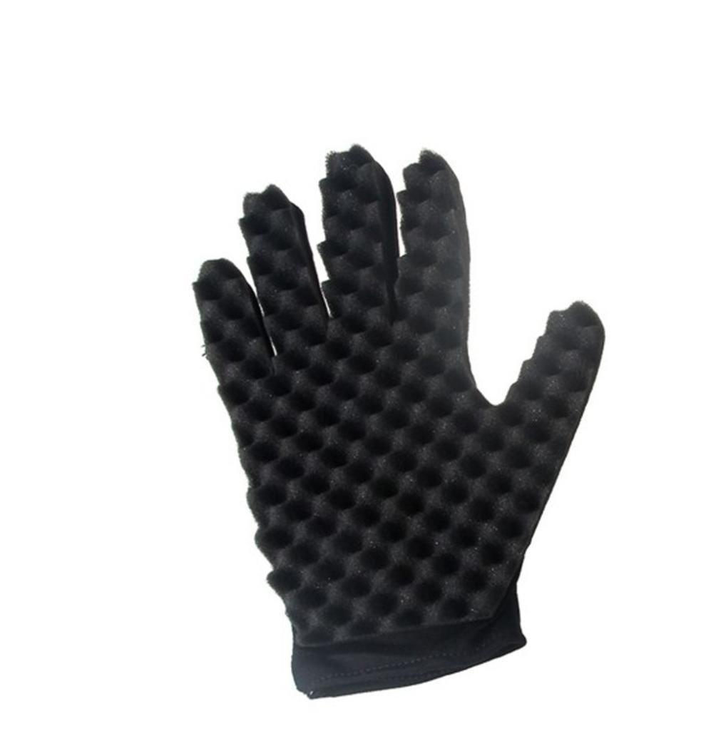 YJYdada 1PC Fashion Curls Coil Magic Tool Wave Barber Hair Brush Sponge Gloves (right)