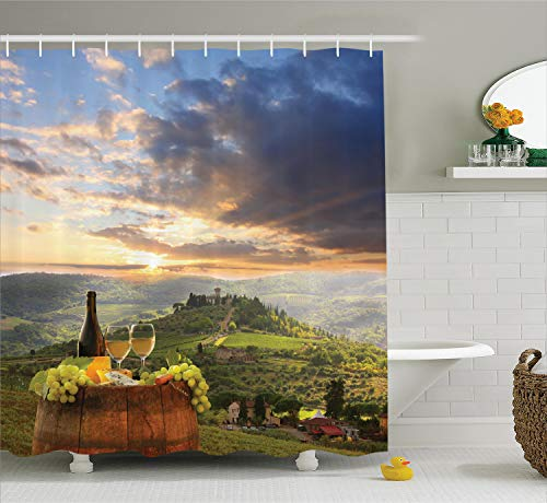 - Ambesonne Winery Decor Collection, Vineyard in Chianti Tuscany Italy Autumn Sunrise with Sun Lights Bursting Through Clouds Image, Polyester Fabric Bathroom Shower Curtain, 84 Inches Extra Long, Green