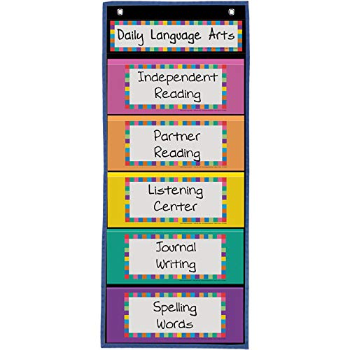 Really Good Stuff Programmable Clip 'N' Track Pocket Chart, 12'' by 28'' - Track Classroom Activities, Behavior, Student Progress - Customize Blank Cards - Grommets, Magnetic Strip for Easy Hanging