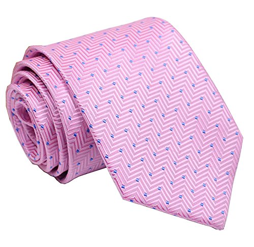 Mens Soft Pink Woven Silk Ties with Blue Dot Formal Thanksgiving Dress Neckties